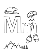What begins with M m coloring page