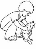 cat and boy coloring page