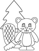 beaver with a saw coloring pages