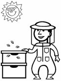 bee hive and bee keeper coloring page