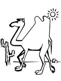camel in the desert coloring page