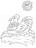hen in a nest coloring page