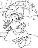raggedy doll with an umbrella coloring page