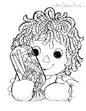 Christmas Raggedy Dolls coloring page