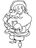 Santa Claus with cookies and milk coloring page