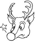 Red-nosed reindeer coloring page