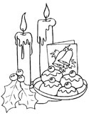 Christmas candle and cookies coloring page