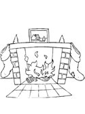 Christmas stocking and fireplace coloring page