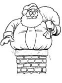 santa claus coming down the chimney coloring page