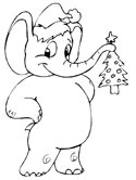 Christmas Elephant Coloring Page