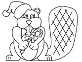 Christmas beaver coloring page