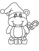 christmas hippo coloring page