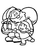 Santa Claus handing out gifts coloring page
