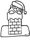 Santa Claus coming down the chimney coming down the chimney coloring page