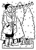 Christmas tree shopping coloring page