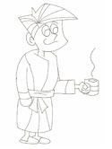 Father's Day morning coffee coloring page