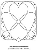 heart dot puzzle coloring page