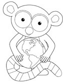 earth and lemur coloring page
