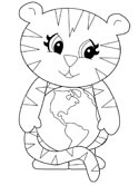 earth and tiger coloring page