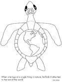 earth and sea turtle coloring page