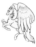 monsters and creatures - pegasus coloring page