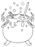 Wee Witch and the Potion Problems coloring page