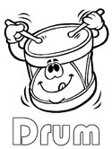 musical instruments - drum coloring page