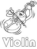 musical instruments - violin coloring page