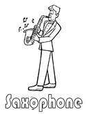 musical instruments - saxophone coloring page