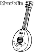 musical instruments - mandolin coloring page