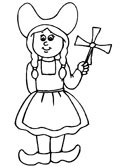 Dutch girl coloring page