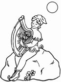 musical instruments - harp coloring page