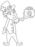 leprechaun with pot of gold coloring page