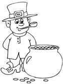 St. Patrick's Day leprechaun and pot of gold coloring page