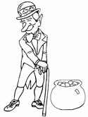 leprechaun and pot of gold coloring page
