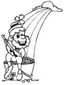Leprechaun, Rainbow and Pot of Gold coloring page