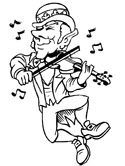 violin played by a leprechaun coloring page
