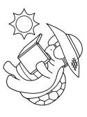 reading turtle coloring page