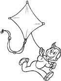 Summer kite coloring page