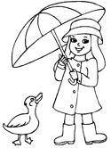 Spring Duck Girl And Umbrella Coloring Page