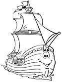 galleon ship coloring page