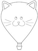 cat hot air balloon coloring page