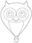 owl hot air balloon coloring page