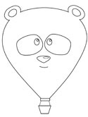 panda hot air balloon coloring page